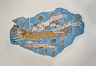 Mycenaean Fresco wall painting of a Wild Boar Hunt from the Tiryns, Greece. 14th - 13th Century BC. Athens Archaeological Museum. .<br /> <br /> If you prefer to buy from our ALAMY PHOTO LIBRARY  Collection visit : https://www.alamy.com/portfolio/paul-williams-funkystock/mycenaean-art-artefacts.html . Type -   Athens    - into the LOWER SEARCH WITHIN GALLERY box. Refine search by adding background colour, place, museum etc<br /> <br /> Visit our MYCENAEN ART PHOTO COLLECTIONS for more photos to download  as wall art prints https://funkystock.photoshelter.com/gallery-collection/Pictures-Images-of-Ancient-Mycenaean-Art-Artefacts-Archaeology-Sites/C0000xRC5WLQcbhQ