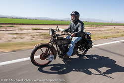 Dave Minerva riding his 1916 Harley-Davidson during the Motorcycle Cannonball Race of the Century. Stage-13 ride from Williams, AZ to Lake Havasu CIty, AZ. USA. Friday September 23, 2016. Photography ©2016 Michael Lichter.