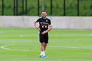 Leon Britton of Swansea city. Swansea city FC team training in Llandore, Swansea,South Wales on Thursday 15th August 2013. The team are preparing for the opening weekend of the Barclays premier league when they face Man Utd. pic by Andrew Orchard,  <br /> Andrew Orchard sports photography,