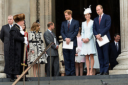 © Licensed to London News Pictures. 10/06/2016.  PRINCE HARRY, DUCHESS OF CAMBRIDGE and the DUKE OF CAMBRIDGE attend The National Service of Thanksgiving to mark the 90th Birthday of Queen Elizabeth II at St Paul's Cathedral. London, UK. Photo credit: Ray Tang/LNP