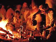 Bedouin preparing Arabic coffee in the desert, Dahana Sands, Saudi Arabia