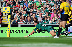 Leicester Tigers fullback Blaine Skully scores a try in the corner - Photo mandatory by-line: Patrick Khachfe/JMP - Tel: Mobile: 07966 386802 - 21/09/2013 - SPORT - RUGBY UNION - Welford Road Stadium - Leicester Tigers v Newcastle Falcons - Aviva Premiership.