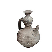 Islamic Terra-cotta ewer with Arabic decorations 7th-8th Century CE 16.8 cm high