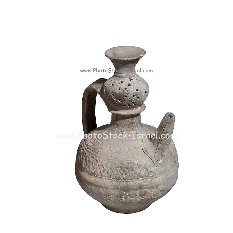 Islamic Terra-cotta ewer with Arabic decorations 7th-8th Century CE 16.8 cm high