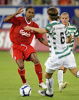 Mels, Switzerland St Gallen v  Liverpool Friendly  (0-0) 15/07/2009 <br /> Glen Johnson (Liverpool) takes on Michael Lang and Yves Oeheri (St Gallen)<br /> Photo Melanie Duchene  Fotosports International / EQI * UK only