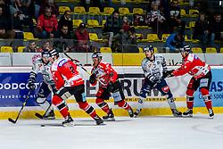 24.11.2019, Ice Rink, Znojmo, CZE, EBEL, HC Orli Znojmo vs Fehervar AV 19, 21. Runde, im Bild v.l. Michael Caruso (Hydro Fehervar AV19) Robert Flick (HC Orli Znojmo) Anthony Luciani (HC Orli Znojmo) Donat Szita (Hydro Fehervar AV19) Jakub Stehlik (HC Orli Znojmo) // during the Erste Bank Eishockey League 21th round match between HC Orli Znojmo and Fehervar AV 19 at the Ice Rink in Znojmo, Czechia on 2019/11/24. EXPA Pictures © 2019, PhotoCredit: EXPA/ Rostislav Pfeffer
