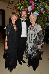 Left to right, JEANETTA LAURENCE, KEVIN O'HARE and DAME MONICA MASON at a dinner hosted by the Royal Academy of Dance to present the Queen Elizabeth II Award 2014 held at Claridge's, Brook Street, London on 4th September 2014.