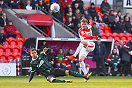 Kieran Sadlier of Doncaster Rovers (22) shoots during the EFL Sky Bet League 1 match between Doncaster Rovers and Plymouth Argyle at the Keepmoat Stadium, Doncaster, England on 13 April 2019.