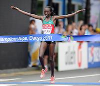 Friidrett<br /> VM 2011<br /> 27.08.2011<br /> Foto: Imago/Digitalsport<br /> NORWAY ONLY<br /> <br /> Edna Kiplagat Kenya <br /> Marathon Women Winner Athletics IAAF World Cup Daegu