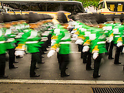 02 DECEMBER 2014 - BANGKOK, THAILAND: A Thai military unit marches in the annual Trooping of the Colors parade on Sanam Luang in Bangkok. The Thai Royal Guards parade, also known as Trooping of the Colors, occurs every December 2 in celebration of the birthday of Bhumibol Adulyadej, the King of Thailand. The Royal Guards of the Royal Thai Armed Forces perform a military parade and pledge loyalty to the monarch. Historically, the venue has been the Royal Plaza in front of the Dusit Palace and the Ananta Samakhom Throne Hall. This year it was held on Sanam Luang in front of the Grand Palace.    PHOTO BY JACK KURTZ