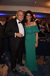 Sir Magdi Yacoub and Dina Roushdi at the Chain of Hope Gala Ball held at the Grosvenor House Hotel, Park Lane, London England. 17 November 2017.<br /> Photo by Dominic O'Neill/SilverHub 0203 174 1069 sales@silverhubmedia.com