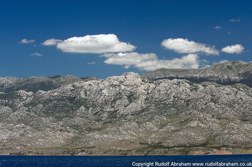 Southern Velebit mountains (Južni Velebit) including Pakelnica National Park, viewed across the Velebit Channel from the village of Jovići, Croatia © Rudolf Abraham