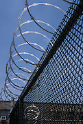 Detail of fence with razor wire on top.