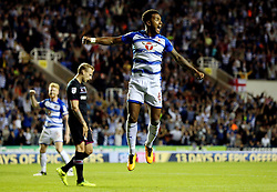 Reading's Liam Moore jumps in celebration after Modou Barrow (not pictured) scores his side's second goal during the Sky Bet Championship match at the Madjeski Stadium, Reading.