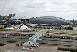 View on Astana Arena (football) and Saryarqa Republican Cycle Track from Barys Arena (hockey) at IIHF World Championship DIV. I Group A Kazakhstan 2019, on May 5, 2019 in Barys Arena, Nur-Sultan, Kazakhstan. Photo by Matic Klansek Velej / Sportida