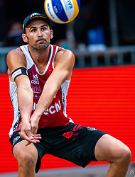 Pablo Herrera ESP in action during the first day of the beach volleyball event King of the Court at Jaarbeursplein on September 9, 2020 in Utrecht.