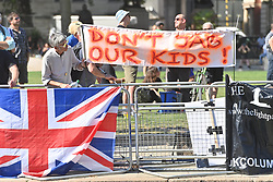 © Licensed to London News Pictures. 08/09/2021. London, UK. Anti Covid vaccination protesters take part in a demonstration in Westminster calling for an end to mandatory vaccination passports and vaccination of teenagers. Photo credit: Ray Tang/LNP