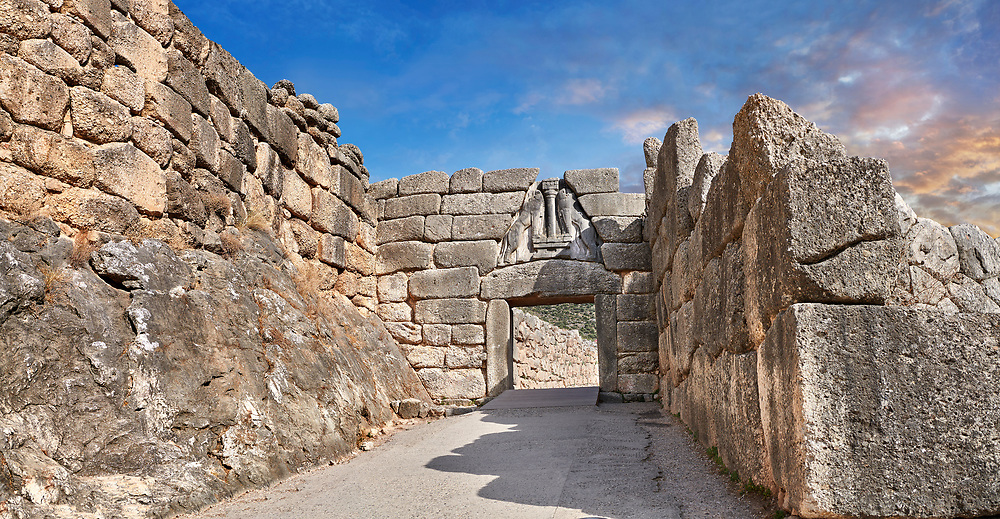 Mycenae Lion Gate & citadel walls built in 1350 B.C and its cyclopean style walls due to the vast size of the blocks. Mycenae Archaeological Site