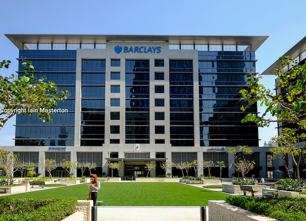 Barclays Bank headquarters at Emaar Square in business and financial hub at Downtown Dubai United Arab Emirates