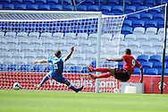 Cardiff city's Fraizer Campbell (9) scores his sides 2nd goal.  Pre season friendly match, Cardiff city v Athletic Club Bilbao at the Cardiff city stadium in Cardiff,  South Wales on Saturday 10th August 2013. pic by Andrew Orchard,  Andrew Orchard sports photography,