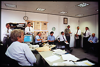 Morning conference at the Financial Times with the journalists (all male) under Richard Lambert editorship. 1994