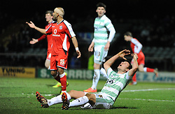 Dejection for Yeovil Town's James Berrett as no penalty is given  - Photo mandatory by-line: Harry Trump/JMP - Mobile: 07966 386802 - 03/03/15 - SPORT - Football - Sky Bet League One - Yeovil v Walsall - Huish Park, Yeovil, England.