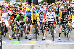 July 20, 2018 - Valence, France - VALENCE, FRANCE - JULY 20 :  LATOUR Pierre Roger (FRA) of AG2R La Mondiale, SAGAN Peter (SVK) of Bora - Hansgrohe, THOMAS Geraint (GBR) of Team SKY, ALAPHILIPPE Julian (FRA) of Quick - Step Floors, KRUIJSWIJK Steven (NED) of Team Lotto NL - Jumbo during stage 13 of the 105th edition of the 2018 Tour de France cycling race, a stage of 169.5 kms between Bourg d'Oisans and Valence on July 20, 2018 in Valence, France, 20/07/2018 (Credit Image: © Panoramic via ZUMA Press)