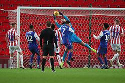 Stoke City goalkeeper Jack Butland saves the ball