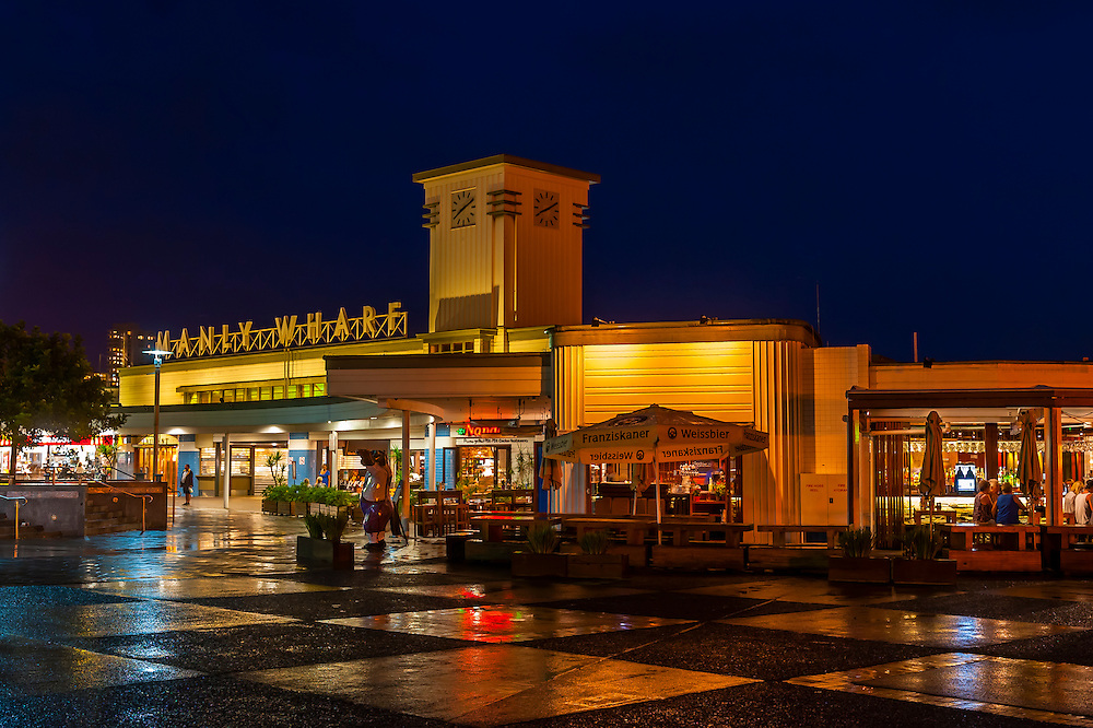The Manly Wharf at night, Manly, Sydney, New South Wales, Australia