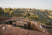 Worshippers at a Sunday Service. The Church of St George Lalibela. Ethiopia, Horn of Africa