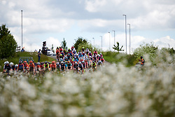 The peloton approach at Stage 2 of 2019 OVO Women's Tour, a 62.5 km road race starting and finishing in the Kent Cyclopark in Gravesend, United Kingdom on June 11, 2019. Photo by Sean Robinson/velofocus.com