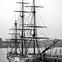 The HMS Bounty at the Portsmouth State Docks during the Tall Ships Celebration, 2010. <br /> This ship is the replica used in the Hollywood movie, Mutiny on the Bounty, Edinburg Trader, and Pirates of the Caribbean.  It is with heartfelt sadness to learn that the Bounty sank during Hurricane Sandy, October 29, 2012 and Captain Robin Walbridge and crew member Claudene Christian lost their lives to the sea.  The remaining 14 members were rescued and united with their families. <br /> All Content is Copyright of Kathie Fife Photography. Downloading, copying and using images without permission is a violation of Copyright.