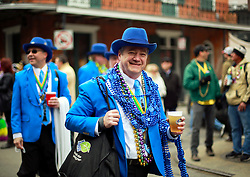17 Feb 2015. New Orleans, Louisiana.<br /> Early morning Mardi Gras Day. Pete Fountain's Half fast Walking Club parade through the French Quarter.<br /> Photo; Charlie Varley/varleypix.com