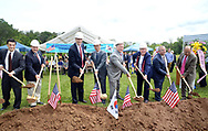 Rep. Todd Stephens (3rd from left), Deputy Consul General Ki-Hwan Kwon (4th from left), Consulate General Republic of Korea in New York and other dignitaries use shovels to move some soil during the ground breaking ceremony for the construction of the Korean War Memorial, America-Korean Alliance Peace Park Tuesday, August 8, 2017 at Memorial Grove Park in North Wales, Pennsylvania. (WILLIAM THOMAS CAIN / For The Philadelphia Inquirer)