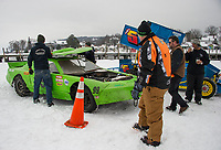 Stock and modified race cars sit at Meredith Bay in preparation for the Nostalgic Latchkey Cup with Lakes Region Ice Racing Club coming Saturday, February 17th.  (Karen Bobotas/for the Laconia Daily Sun)