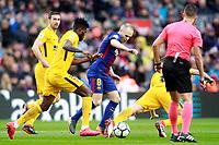 FC Barcelona's Andres Iniesta (r) and Atletico de Madrid's Thomas Partey during La Liga match. March 4,2018. (ALTERPHOTOS/Acero)