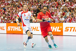 10.04.2016, Ergo Arena, Gdansk, POL, IHF Herren, Olympia Qualifikation, Polen vs Tunesien, im Bild Przemyslaw Krajewski, Sobhi Saied // during the IHF men's Olympic Games handball qualifier between Poland and Tunisia at the Ergo Arena in Gdansk, Poland on 2016/04/10. EXPA Pictures © 2016, PhotoCredit: EXPA/ Newspix/ Tomasz Zasinski<br /> <br /> *****ATTENTION - for AUT, SLO, CRO, SRB, BIH, MAZ, TUR, SUI, SWE only*****