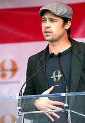 Dec 03 2007. New Orleans, Louisiana. Lower 9th Ward.<br /> Brad Pitt revisits the Lower 9th ward, devastated by Hurricane Katrina to present 'Make it Right' where architects' designs are unveiled to the public. Photo credit; Charlie Varley/varleypix.com