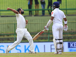 August 14, 2017 - Colombo, Sri Lanka - Indian cricketer Mohammed Shami(L) celebrates after taking the wicket of Sri Lanka's Kusal Mendis during the 3rd Day's play in the 3rd and final Test match between Sri Lanka and India at the Pallekele international cricket stadium at Kandy, Sri Lanka on MOnday 14 August 2017. (Credit Image: © Tharaka Basnayaka/NurPhoto via ZUMA Press)