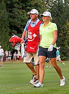 15 AUG 23  Stacy Lewis and caddie Travis during the Final Round of The Canadian Pacific Women's Open at The Vancouver Golf Club in Coquitlam, British Columbia, Canada.(photo credit : kenneth e. dennis/kendennisphoto.com)
