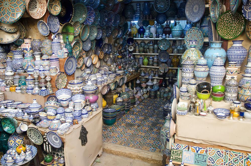 Ceramics on display in Fes medina Morocco