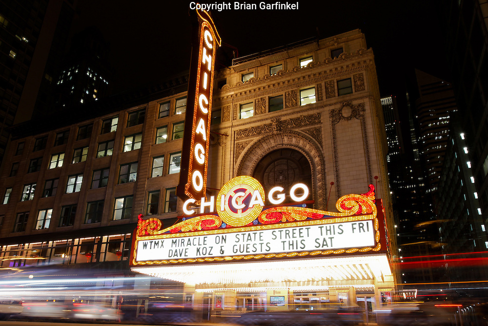 The Chicago theatre on State Street in Chicago Illinois.