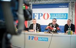 28.03.2017, Freiheitlicher Parlamentsklub, Wien, AUT, FPÖ, Pressekonferenz zum Eurofighter Untersuchungsausschuss. im Bild v.l.n.r. Dritter Nationalratspraesident Norbert Hofer (FPÖ), Klubobmann FPÖ Heinz-Christian Strache und Nationalratsabgeorndeter FPÖ Walter Rosenkranz // f.l.t.r. 3rd President of the National Council Norbert Hofer (FPOe), Leader of the parliamentary group FPOe Heinz Christian Strache and Member of parliament FPOe Walter Rosenkranz during press conference of the austrian freedom party in Vienna, Austria on 2017/12/28. EXPA Pictures © 2017, PhotoCredit: EXPA/ Michael Gruber