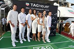 Tom Brady, Dan Carter, Daniel Ricciardo, Paulina Vega, Geri Halliwell-Horner, Bella Hadid and Cadel Evans attend the TAG Heuer event during the Formula 1 Grand Prix de Monaco on May 26, 2018 in Monaco, Monaco. Photo by Laurent Zabulon/ABACAPRESS.COM