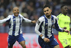 April 8, 2018 - Porto, Aveiro, Portugal - Porto's Brazilian defender Alex Telles celebrates after scoring goal during the Premier League 2017/18 match between FC Porto v CD Aves, at Dragao Stadium in Porto on April 8, 2018. (Credit Image: © Dpi/NurPhoto via ZUMA Press)