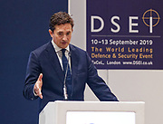 London, United Kingdom - 12 September 2019<br /> Johnny Mercer MP, Parliamentary Under-Secretary of State for Defence People and Veterans for the UK Government gives a keynote address speech and answers questions from the audience at DSEI 2019 security, defence and arms fair at ExCeL London exhibition centre.<br /> (photo by: EQUINOXFEATURES.COM)<br /> Picture Data:<br /> Photographer: Equinox Features<br /> Copyright: ©2019 Equinox Licensing Ltd. +443700 780000<br /> Contact: Equinox Features<br /> Date Taken: 20190912<br /> Time Taken: 10173900<br /> www.newspics.com