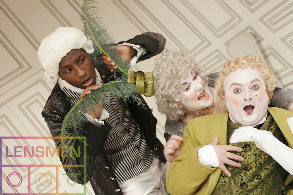 """ABBEY THEATRE: THE SCHOOL OF SCANDAL<br /><br />Pictured the launch of Richard Brinsley Sheridan's """"The School of Scandal"""" at the Abbey Theatre on Lower Abbey Street on the 5th December 2006 were left to right actors,<br /><br />Yare Jegbefume, Marion O Dwyer, and David Pearse.<br /><br />Commissioned by the Abbey Theatre *** Local Caption *** It is important to note that under the COPYRIGHT AND RELATED RIGHTS ACT 2000 the copyright of these photographs are the property of the photographer and they cannot be copied, scanned, reproduced or electronically stored in any form whatsoever without the written permission of the photographer"""