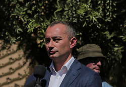 May 13, 2019 - Gaza, khan younis, Palestine - Nickolay Mladenov the U.N. special coordinator for Middle East peace seen speaking during his visits to a solar energy project at Nasser hospital in the southern Gaza Strip. (Credit Image: © Yousef Masoud/SOPA Images via ZUMA Wire)
