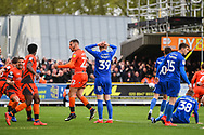 AFC Wimbledon Forward Joe Pigott (39) takes the penalty but misses during the EFL Sky Bet League 1 match between AFC Wimbledon and Wycombe Wanderers at the Cherry Red Records Stadium, Kingston, England on 27 April 2019.