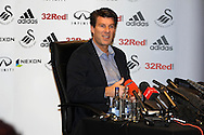 Swansea city manager Michael Laudrup talks to the media. Swansea city training and media day at the  Liberty stadium in Swansea, South Wales on Thursday 21st Feb 2013. The team are training ahead of their forthcoming Capital one cup final on Sunday. pic by Andrew Orchard, Andrew Orchard sports photography,